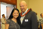 From left, Lisa Truong-Kracher of Staffing Solutions of Hawaii and Pacific Business News Publisher Bob Charlet at a reception prior to the PBN Hawaii's Fastest 50 event at the Hawaii Convention Center.