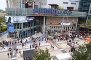 Just a few fans gathering outside Amway Center for the show