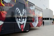 Outside the media entrance was a KISS RV. And what was it advertising? Wait for it ...