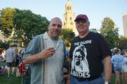 """Dudes who connect generations, Paul Oren and his father, Pastor Andrew Oren, both are """"Big Lebowski"""" Fans."""