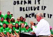 Mayor Thomas Menino joined more than 300 Fidelity Investments employees on Aug. 1 to help transform the closed Marshall Elementary School into an in-district college preparatory charter school for K-5 students – the UP Academy of Dorchester – scheduled to open this fall.