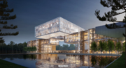 Exxon Mobil's campus in Springwoods Village will feature a 10,000-ton floating cube 80 feet above a reflection pool.