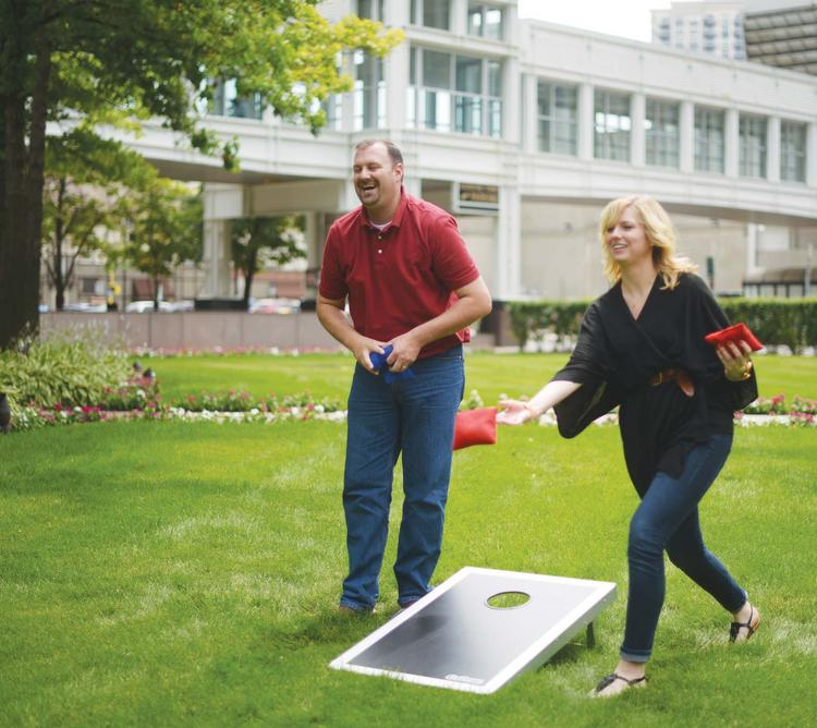SPS Commerce staff can play lawn games during the workday outside the company's Minneapolis headquarters building.