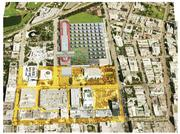 South Beach ACE's possible plan for the Miami Beach Convention Center at the top of the image could include solar panels on the roof of the facility and an open space with street-level parking on the west side. The existing parking lot would be moved underground.