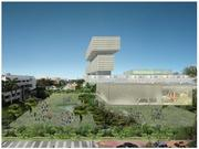 This view is from the south side of the proposed convention center looking toward the new cultural center and hotel.