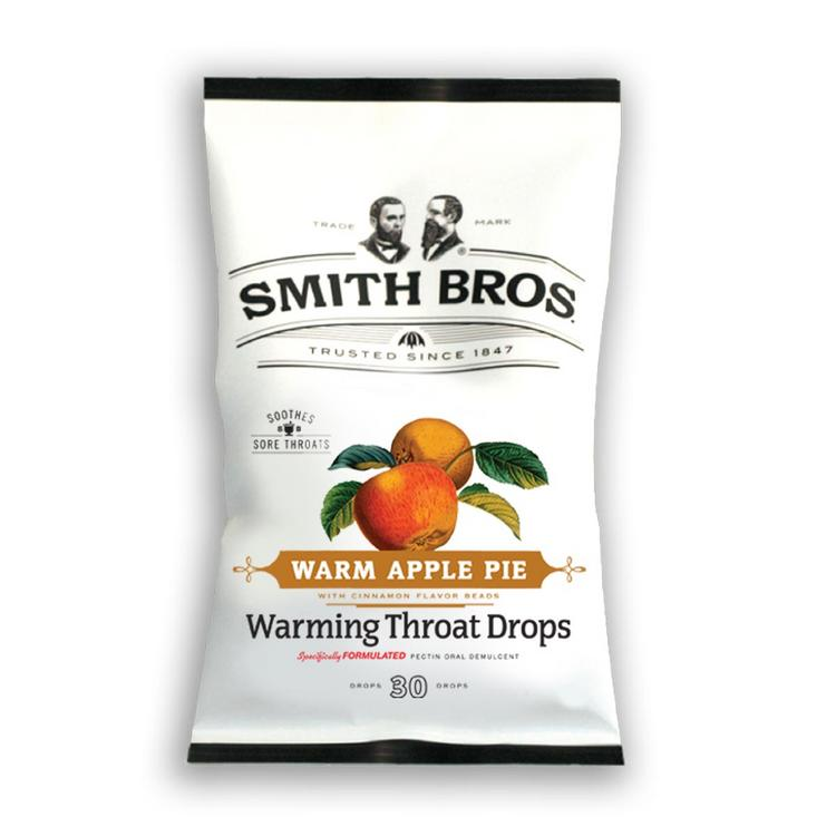 The new line of Smith Brothers throat drops includes an apple-pie-flavored warming throat drop.
