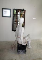 A sculpture by Jeanine Turner on display in Unexpected Art. Turner and her partner Jeffrey Kent both have pieces in the gallery's current exhibit, in addition to other artists' work.