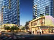 Retail is planned for the base of the apartment and condo towers at Bellevue International Plaza. This is a view from the the corner of Northeast Eighth Street and 110th Avenue Northeast. The developer, Plus Investment USA, hopes to start construction of these towers this fall.