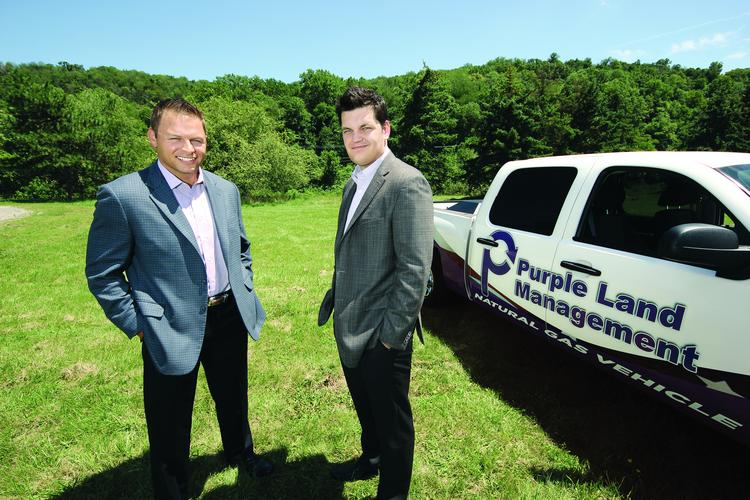 Jesse Hejney, left, and Bryan Cortney are co-founders of Purple Land Management. Hejney is the company's CEO. Cortney is Purple Land Management's president.