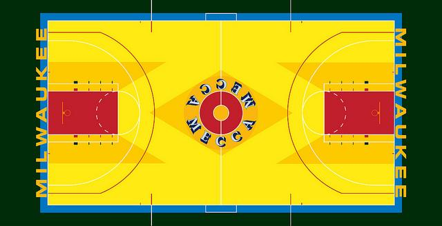 The old MECCA basketball floor was designed by Robert Indiana, a famous pop artist.