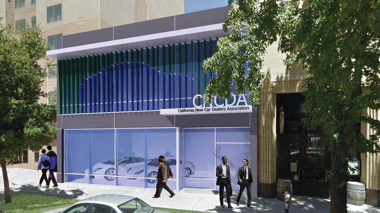 When the California New Car Dealers Association moves into 1517 L St. later this summer, passers-by will get to ogle four-wheeled products on a rotating basis, and nice ones at that.