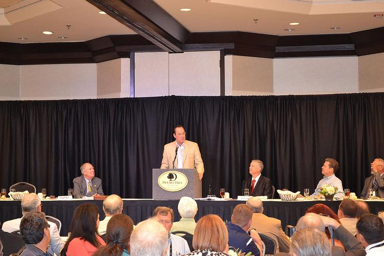 Wichita State University basketball coach Gregg Marshall speaks to members of the Kansas Independent Oil and Gas Association at their annual meeting in Wichita.