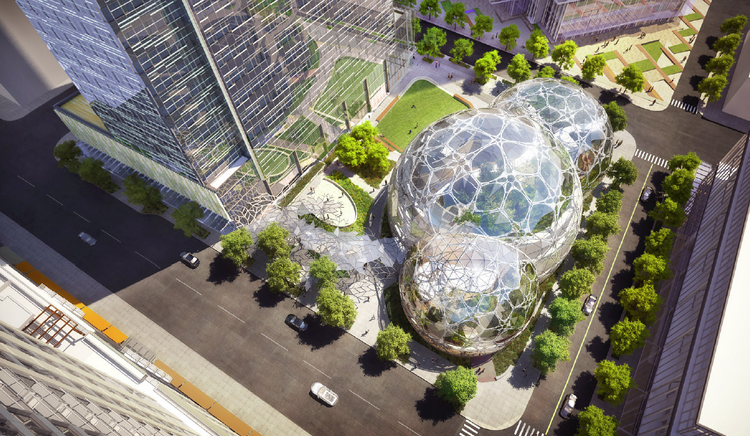 Amazon and NBBJ have updated the design of the spherical-shaped buildings and an office tower. A city board is scheduled to review the design on Tuesday.