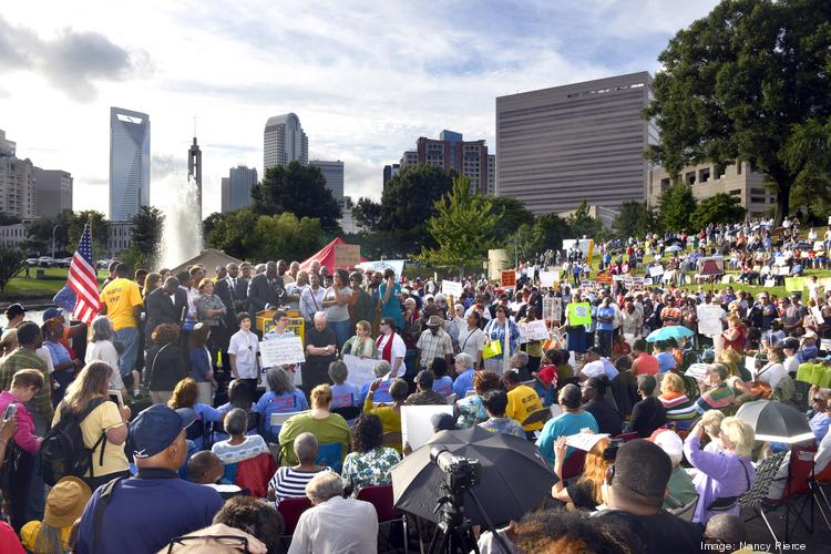 A crowd estimated at 2,000 to 3,000 gathered in Charlotte's Marshall Park for the Moral Monday event.