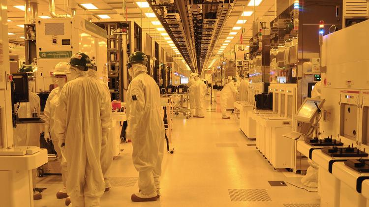 The manufacturing space inside the GlobalFoundries plant in Malta, New York.