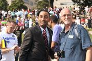 Charlotte City Council member and mayoral candidate James Mitchell and council colleague John Autry attended Moral Monday uptown.