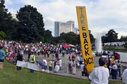 At its peak, the Moral Monday audience filled the grass hill around the fountain at Marshall Park and stretched across a pedestrian bridge.