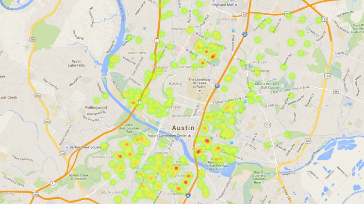 Map shows locations of Austin's Type 2 short-term rentals - Austin on
