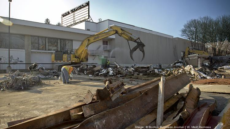 Demolition underway at the Circle Cinema and Applebee's restaurant in Brookline's Cleveland Circle.