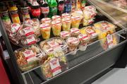 The grab-and-case offers pre-made salads, yogurt, desserts and drinks.