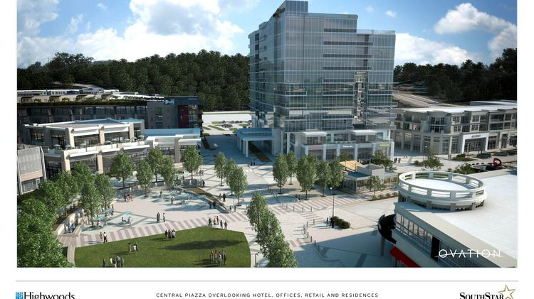 A rendering of Highwoods Properties' and SouthStar LLC's plans for Ovation, a mixed-use development in Cool Springs. Bristol Development Group will also help develop the project.