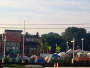 A tent city has popped up outside of a Chick-Fil-A in King of Prussia because first 100 customers get free chicken for one year.