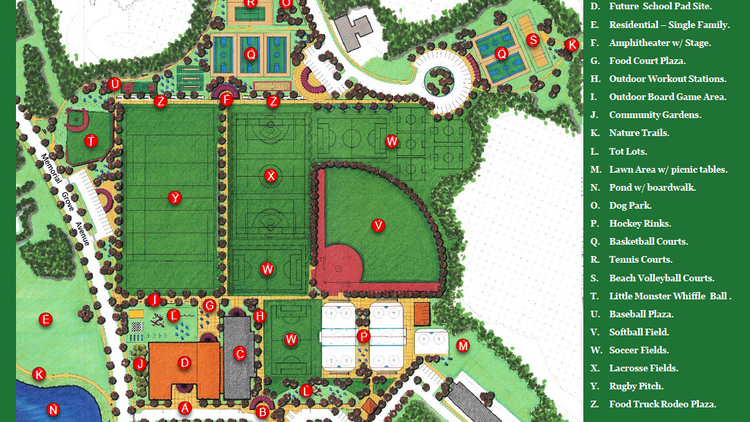 """The $1 billion SouthField development in the South Shore is sharpening its development plans into finer detail, this time with the launch of a 25-acre park and recreation center zone designed by landscape architect LLD Collaborative. The park will include hockey rinks, a renovated gymnasium, a lighted sports field complex with natural and artificial turf fields and a permanent version of the """"Little Monsta"""" wiffle ball park. A portion of the site will also be set aside as a potential location for a grade school."""