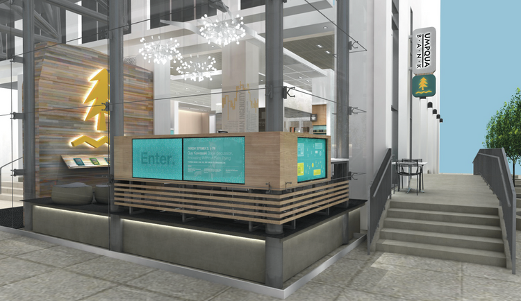 Umpqua's new flagship location in San Francisco's Financial District looks more like a coffee shop than a bank. It features outdoor seating for customers and pedestrians. It also has parking for bikes inside the branch.