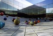 "Outside the Tacoma Art Museum is a blown glass artwork by Dale Chihuly, called ""Ma Chihuly's Floats."""