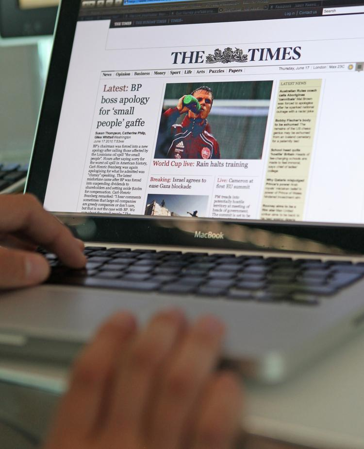 A page from The Times newspaper's website is displayed on a computer monitor.