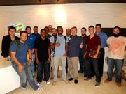 Local Miami Developers gathered for a celebratory group picture in the Beacon Council's lobby. The Beacon Council hosted the PayPal Battle Hack: Developer Meetup on Aug. 1.