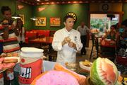 Universal Chef Steven Jayson discusses with media the new foods at Springfield.