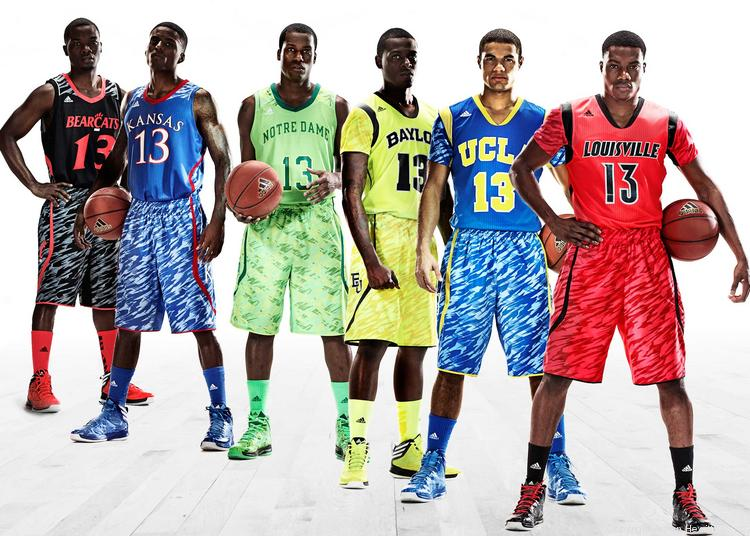 Adidas America Inc. is outfitting six of its most high-profile college basketball programs in new uniforms for tournament season. Not all of them have been critically acclaimed.