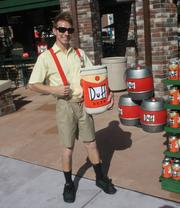 Is he just a small man or is that a giant-size Duff beer can? Sadly, neither.