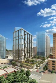 A view of the proposed new towers, with Monday Properties' 1812 N. Moore St. shown at left.