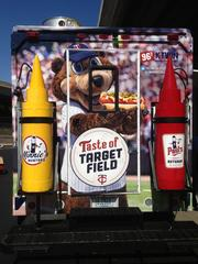 Twins mascots Minnie, Paul and T.C. Bear get some space on the back of the Minnesota Twins' Taste of Target Field food truck.