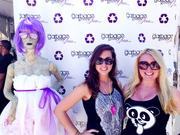 One of the booths at Ultra, by Garbage Gone Glam, a Palm Beach company, with founder Kristen Alyce (right) and a coworker.