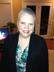 Wright after chemo with new short hair.