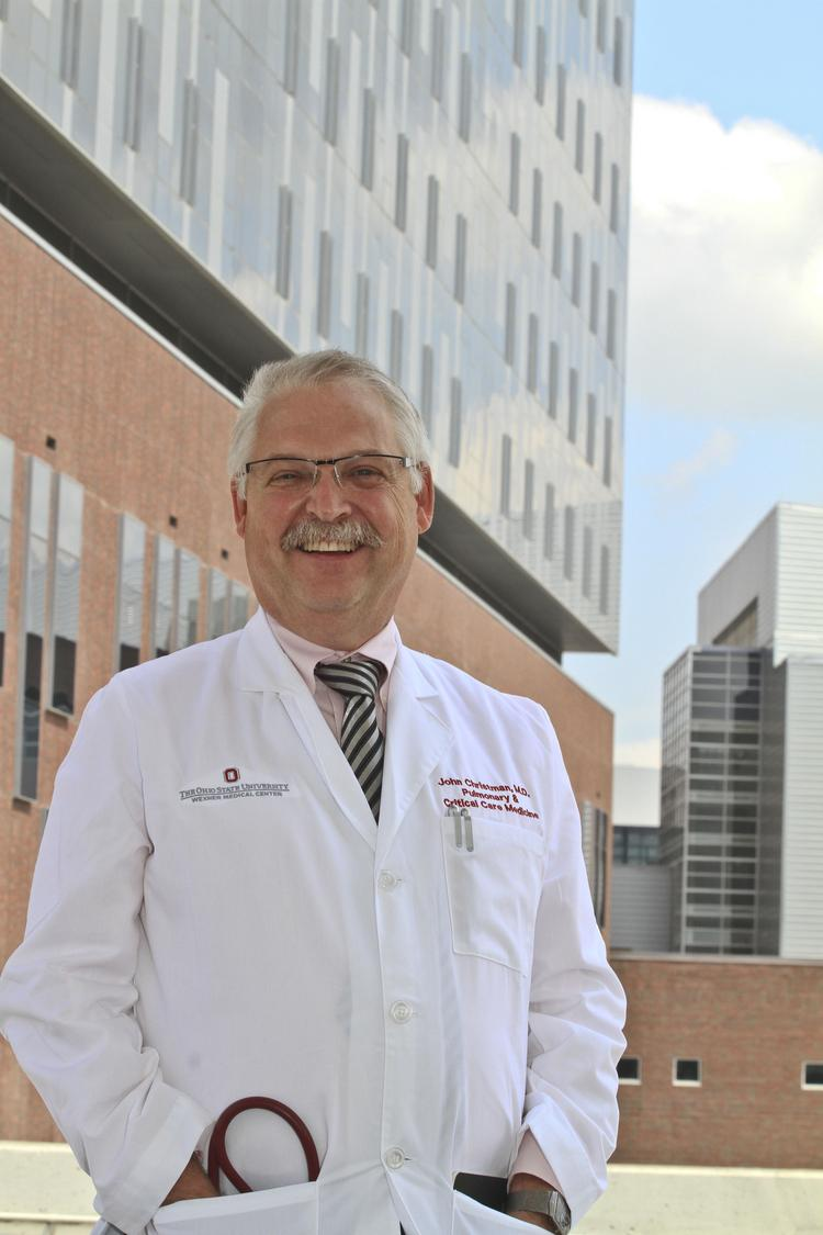 John William Christman MD (cq) Director, Center for Critical Care, OSU Wexner Medical Center. The new Medical Center is in the background. 8/13/13