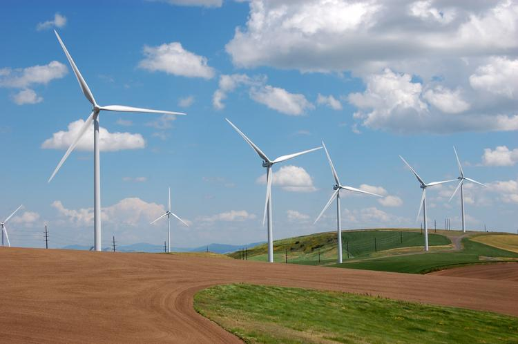 Vestas Wind Systems' turbines, the V100 model, working at a Washington state wind farm.