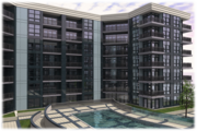 The interior of the apartment tower, which will have 305 units, shows a courtyard with a raised swimming pool. Planners have said they wanted to make the pool in Phase II bigger than the one in Phase I.