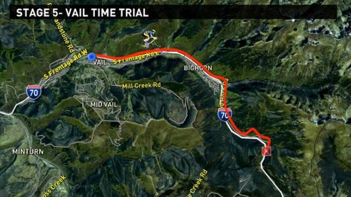 Map shows the route of today's time trials.