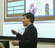 Alex Worth, founder and CEO of Gift Maki, delivers his elevator pitch at this year's StartUp Lab celebration.