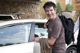 Uber's CEO is Travis Kalanick, shown here arriving at the 2012 Allen & Co. Media and Technology Conference in Sun Valley, Idaho.