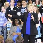 Democratic presidential frontrunner Hillary Clinton stumps for votes in Milwaukee