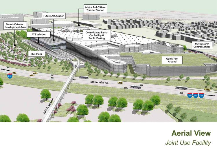 An aerial view of the proposed O'Hare Airport consolidated rental car and parking facility.