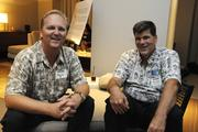 Kevin Bumgarner of Pacific Business News and Michael Plunkett of KONE Elevators.