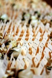 A sea of table assignments await nearly 550 expected at the 2013 Tampa Bay Business Journal BusinessWoman of the Year Awards.
