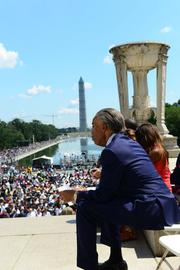 Rev. Al Sharpton looks out at the crowd as he prepares to speak.
