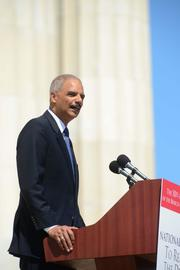 U.S. Attorney General Eric Holder speaks to the crowd.